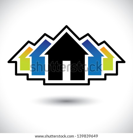 House ( home ) & residence sign for real estate- vector graphic. The illustration is also a icon for buying & selling property, residential accommodations, offices, etc - stock vector