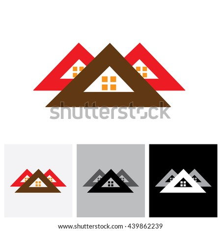 House ( home ) vector logo icon ( sign) for real-estate industry. The illustration is also a icon for buying & selling property, residential accommodations, offices, etc - stock vector