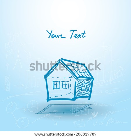 House, house plan on a blue background. Building. Sketch. vector - stock vector