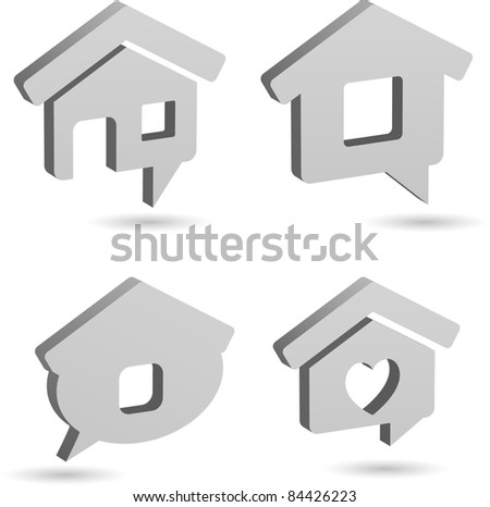 house icon - chat style - stock vector