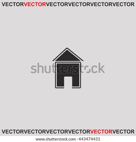 House icon. Grey image on grey background. Web icon. - stock vector