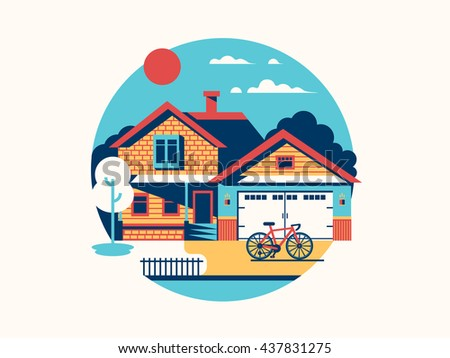 House icon isolated flat - stock vector
