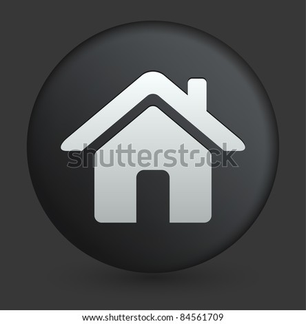 House Icon on Round Black Button Collection Original Illustration - stock vector