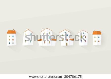 house icon set. flat design - stock vector