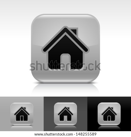 House icon set. Gray glossy web button with black sign. Rounded square shape with shadow, reflection on white, gray, black background. Vector illustration design element save in 8 eps  - stock vector