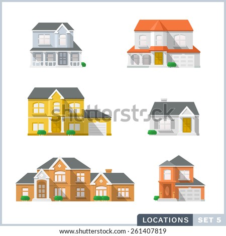 House icon set 1, Private residential architecture.  - stock vector