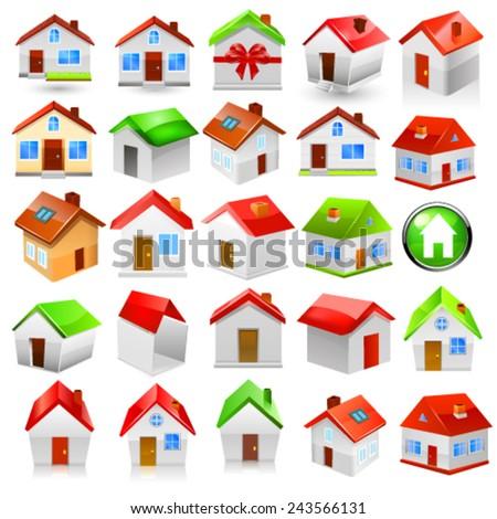 House icon set. Vector - stock vector