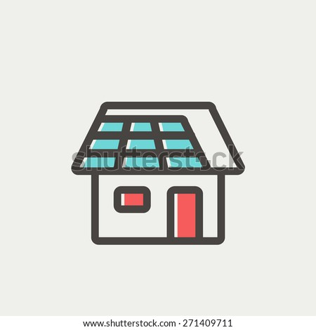 House icon thin line for web and mobile, modern minimalistic flat design. Vector icon with dark grey outline and offset colour on light grey background. - stock vector