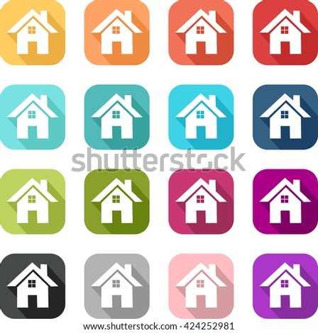 House icon Very colorful pictogram of simple and sleek design icons