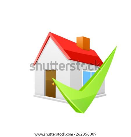 House icon with green arrow. Vector - stock vector