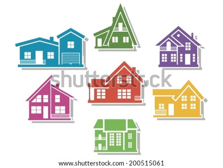 House icons. - stock vector