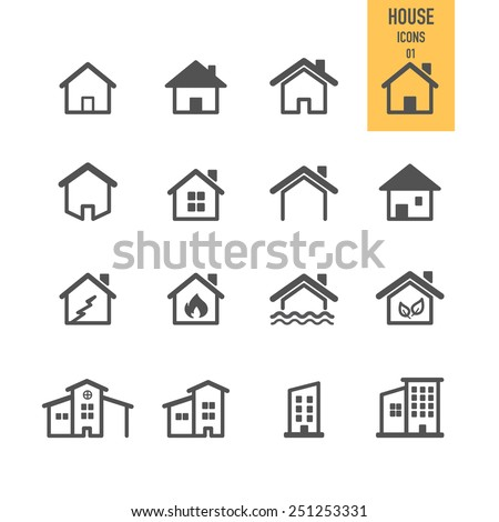 House icons. Real estate. Vector illustration. - stock vector