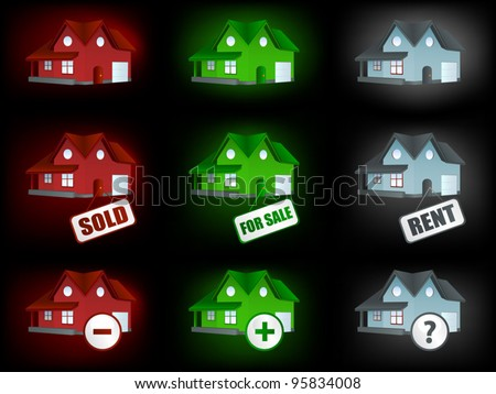 House icons set for sale and rent. - stock vector