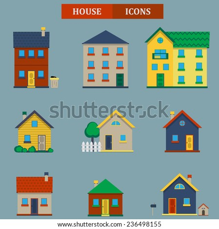 House icons set in flat style design. Vector. Elements for creating your own map. Map elements for your web site, pattern, background or other type of design. - stock vector