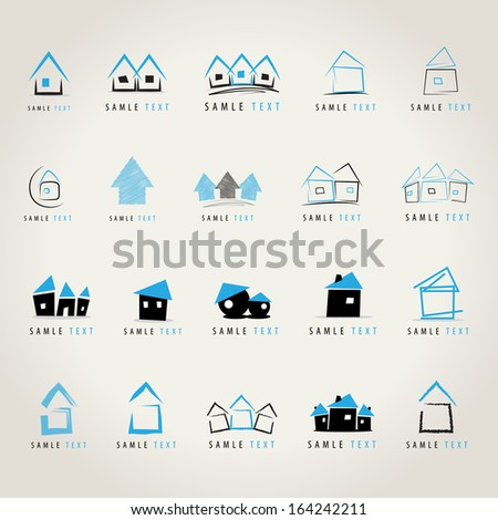 House Icons Set - Isolated On Gray Background - Vector Illustration, Graphic Design Editable For Your Design - stock vector