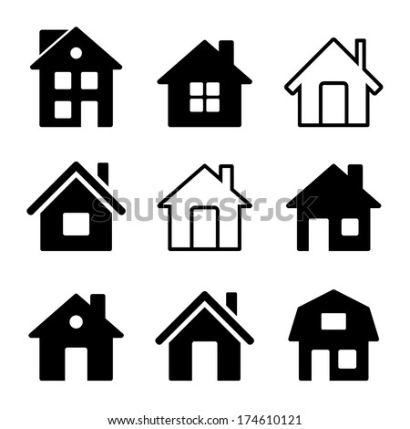 House Icons Set on White - stock vector
