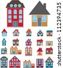 house icons set, vector - stock photo