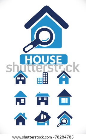 house icons, signs, vector illustrations - stock vector