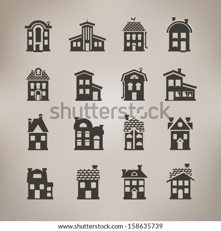 House icons. Vector format - stock vector