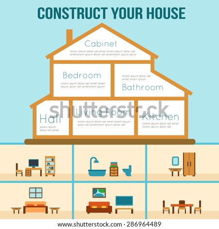 House in cut. Detailed modern house interior. Furniture for different rooms. Flat style vector illustration. - stock vector