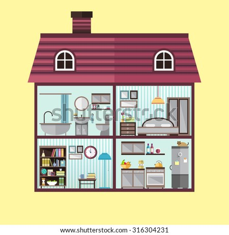 House in cut. Detailed modern house interior. Furniture for different rooms. Flat style vector illustration. Kitchen, bathroom, bedroom, living room. - stock vector