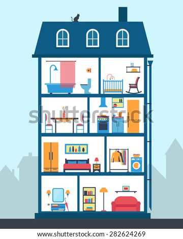 House in cut. Detailed modern house interior. Many rooms with furniture. Flat style vector illustration. - stock vector