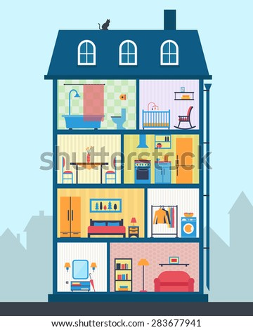 House cut detailed modern house interior stock vector for Homestyles com