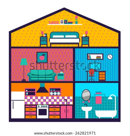 House in cut. Detailed modern house interior. Rooms with wallpaper and furniture. Flat style vector illustration. - stock vector