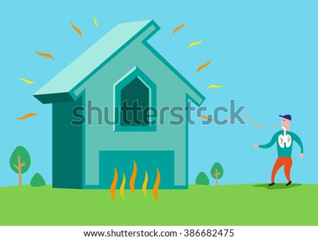 House in flames or with Asbestos or Radon Radiation. Editable Clip Art. - stock vector