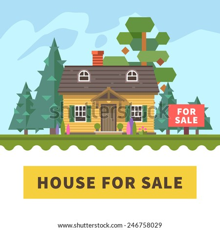 House in forest for sale. Real estate. Vector flat illustration - stock vector