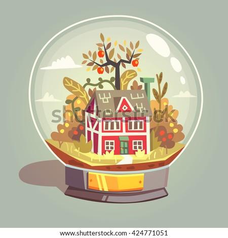 House in glass globe. Vector illustration. - stock vector
