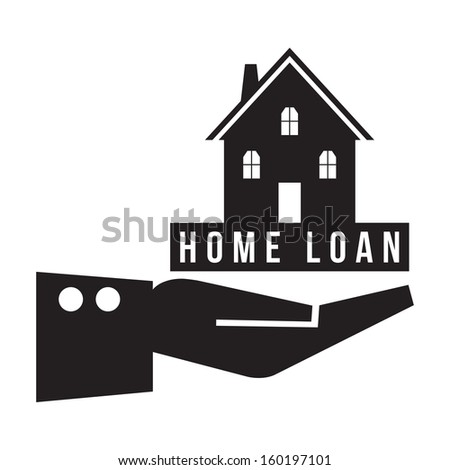 House in hand with home loan concept, vector format - stock vector
