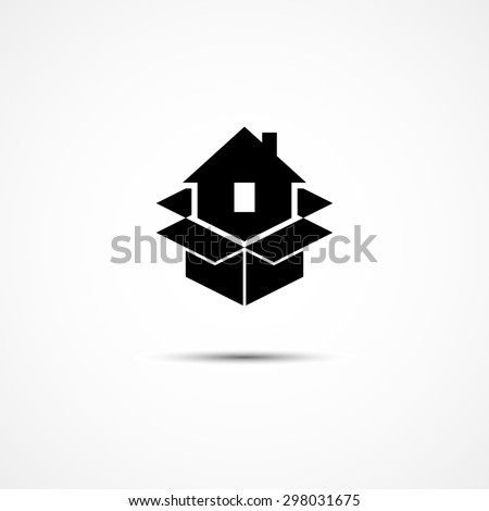 House in packing box icon template for moving company logo. Vector illustration. - stock vector