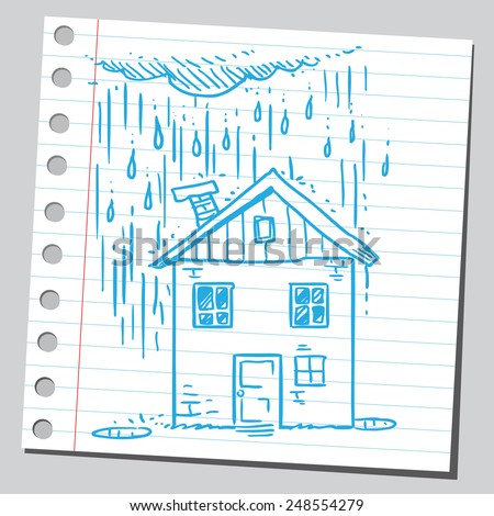 House in rainy day - stock vector