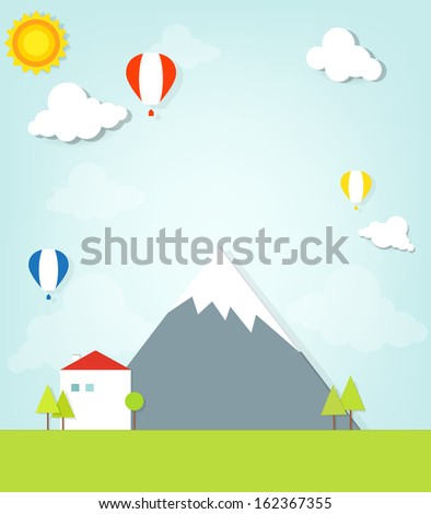 house in the mountains - stock vector