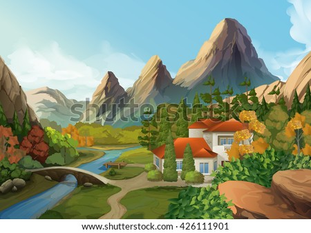 House in the mountains, nature landscape, vector background - stock vector