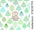 house in the woods - stock vector