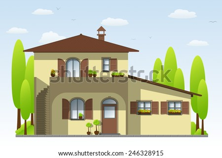 House in Tuscany - stock vector