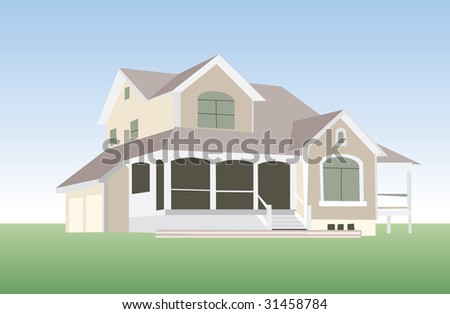house in vector mode for edit - stock vector
