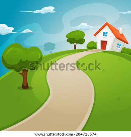House Inside Green Fields/ Illustration Of A Cartoon House On A Top Of A  Hill