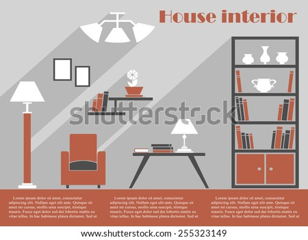 House interior design infographic template in grey and brown with a simple armchair, bookcase, standing lamp and table with lamp and books below wall fittings and lights with editable text space - stock vector
