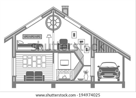 house interior silhouette. Vector illustration - stock vector