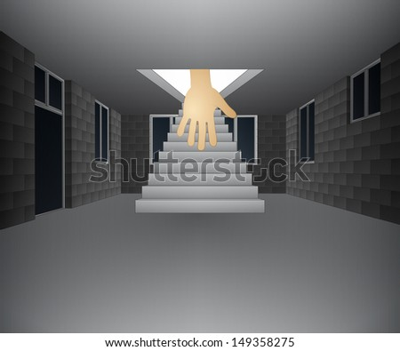house interior with hand down from staircase vector illustration