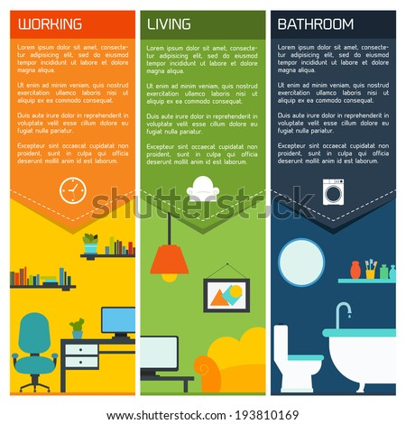 House interiors banners with working living room bathroom isolated vector illustration - stock vector