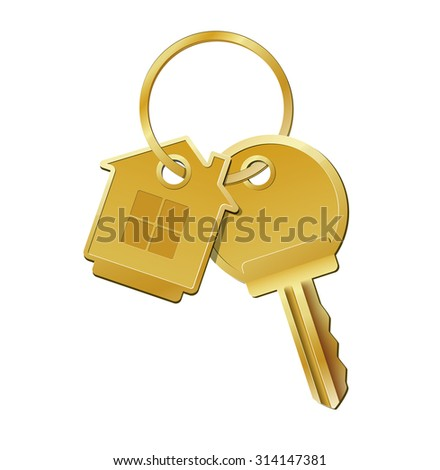 House key on key chain on white background vector illustration - stock vector