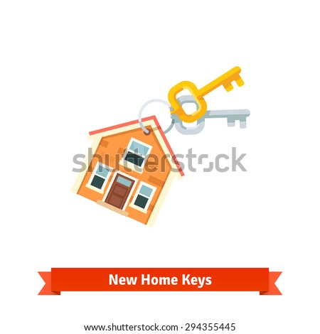 House keychain symbolising purchase of a new home or real estate. Flat vector icon isolated on white background. - stock vector