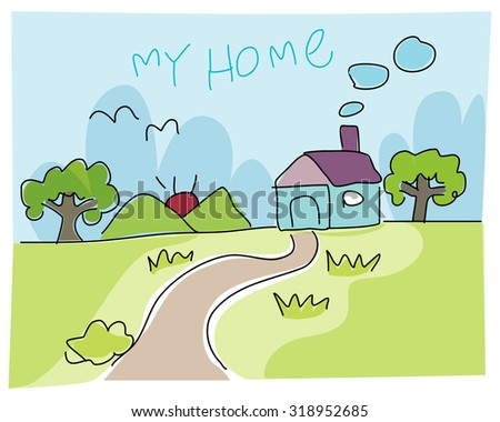 House Kid's Style Vector