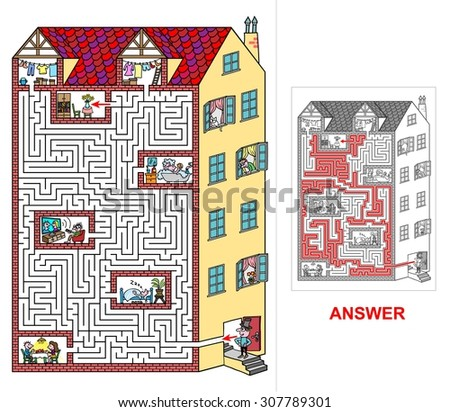 House - labyrinth for kids (hard). Help lord to find a correct way to his flat at top floor. Beware and do not get lost otherwise you will visit neighbors! - stock vector
