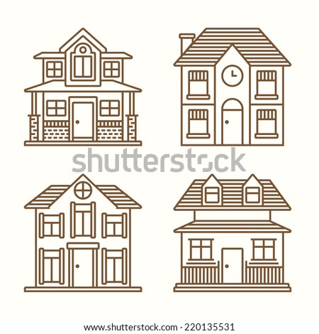 House Line Icon Set - Vector Illustration - stock vector