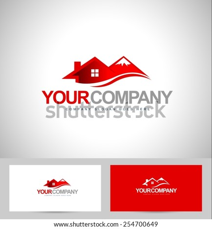 House Logo Design. Real estate logo vector. Mountain chalet resort logo. - stock vector